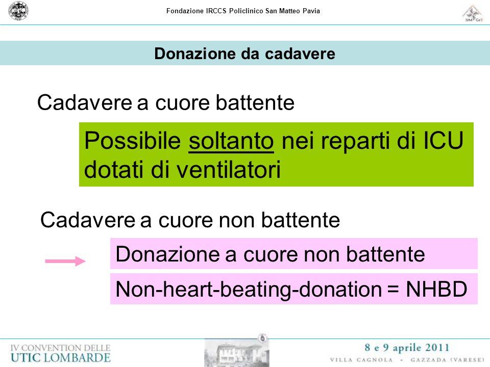 Fondazione IRCCS Policlinico San Matteo Pavia Donazione da cadavere Cadavere a cuore battente Cadavere a cuore non battente Donazione a cuore non batt
