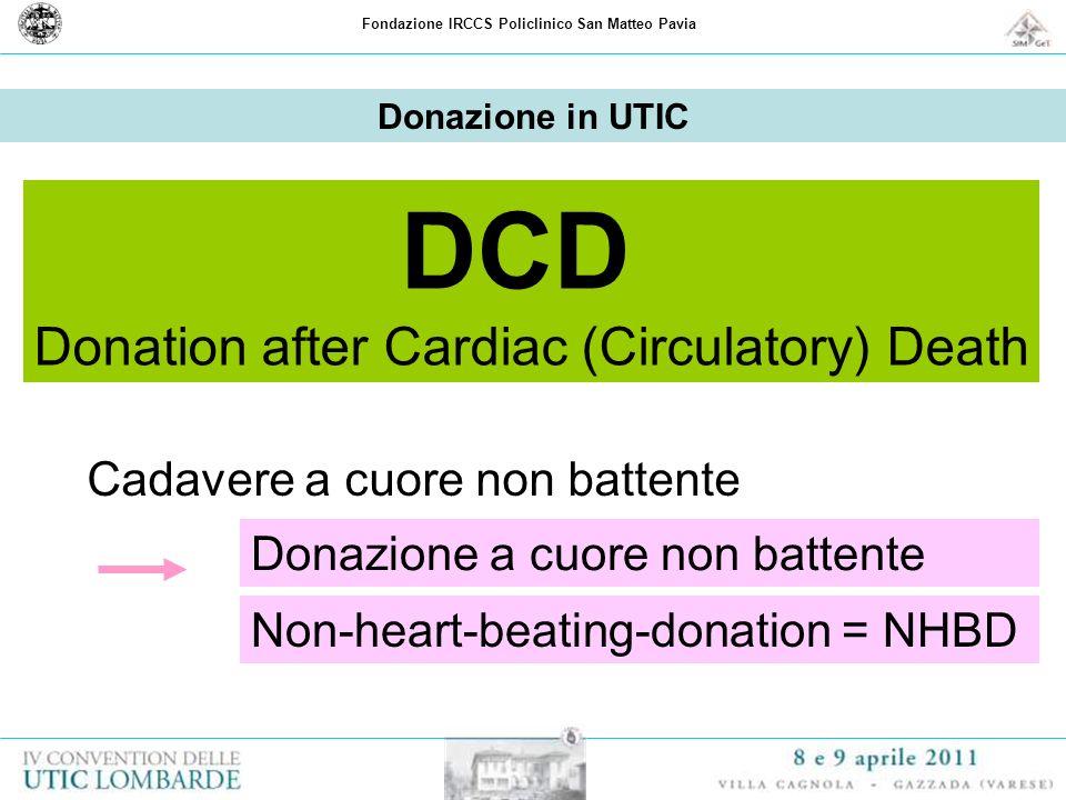 Fondazione IRCCS Policlinico San Matteo Pavia Donazione in UTIC Cadavere a cuore non battente Donazione a cuore non battente Non-heart-beating-donatio