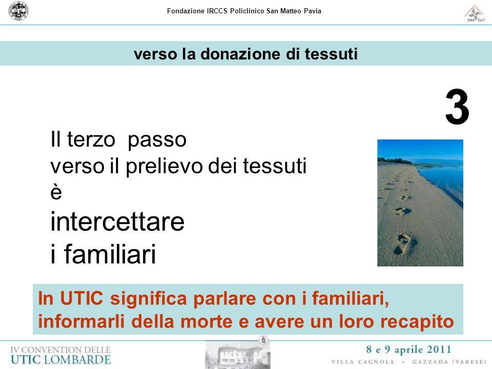 Fondazione IRCCS Policlinico San Matteo Pavia 3 Il terzo passo verso il prelievo dei tessuti è intercettare i familiari verso la donazione di tessuti