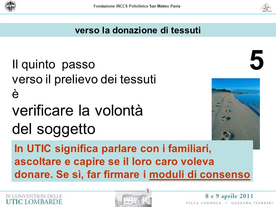 Fondazione IRCCS Policlinico San Matteo Pavia 5 Il quinto passo verso il prelievo dei tessuti è verificare la volontà del soggetto verso la donazione