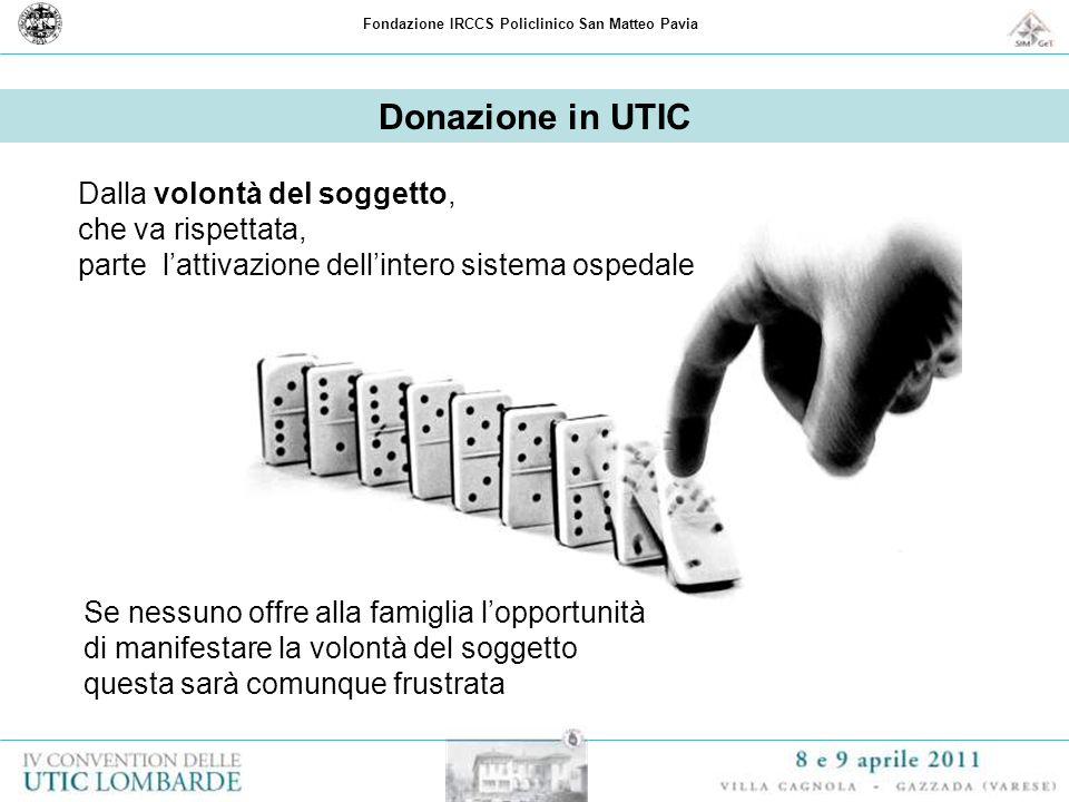 Fondazione IRCCS Policlinico San Matteo Pavia Donazione in UTIC Dalla volontà del soggetto, che va rispettata, parte lattivazione dellintero sistema o