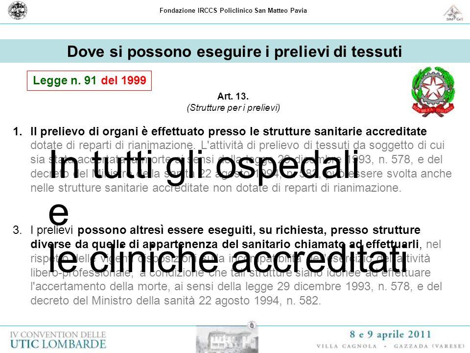 Fondazione IRCCS Policlinico San Matteo Pavia Dove si possono eseguire i prelievi di tessuti Art. 13. (Strutture per i prelievi) 1.Il prelievo di orga