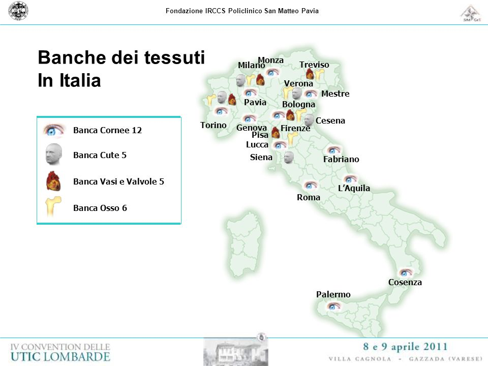 Banca Cornee 12 Banca Cute 5 Banca Vasi e Valvole 5 Banca Osso 6 Milano Monza Torino Treviso Verona Mestre Pavia Genova Bologna Cesena Firenze Pisa Lu