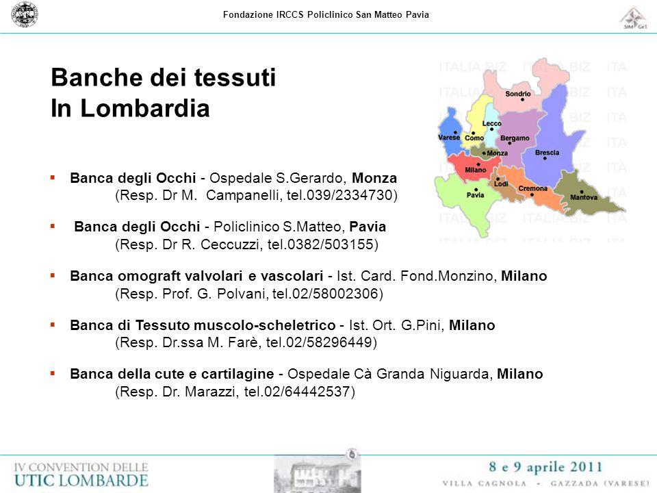Fondazione IRCCS Policlinico San Matteo Pavia Banche dei tessuti In Lombardia Banca degli Occhi - Ospedale S.Gerardo, Monza (Resp. Dr M. Campanelli, t