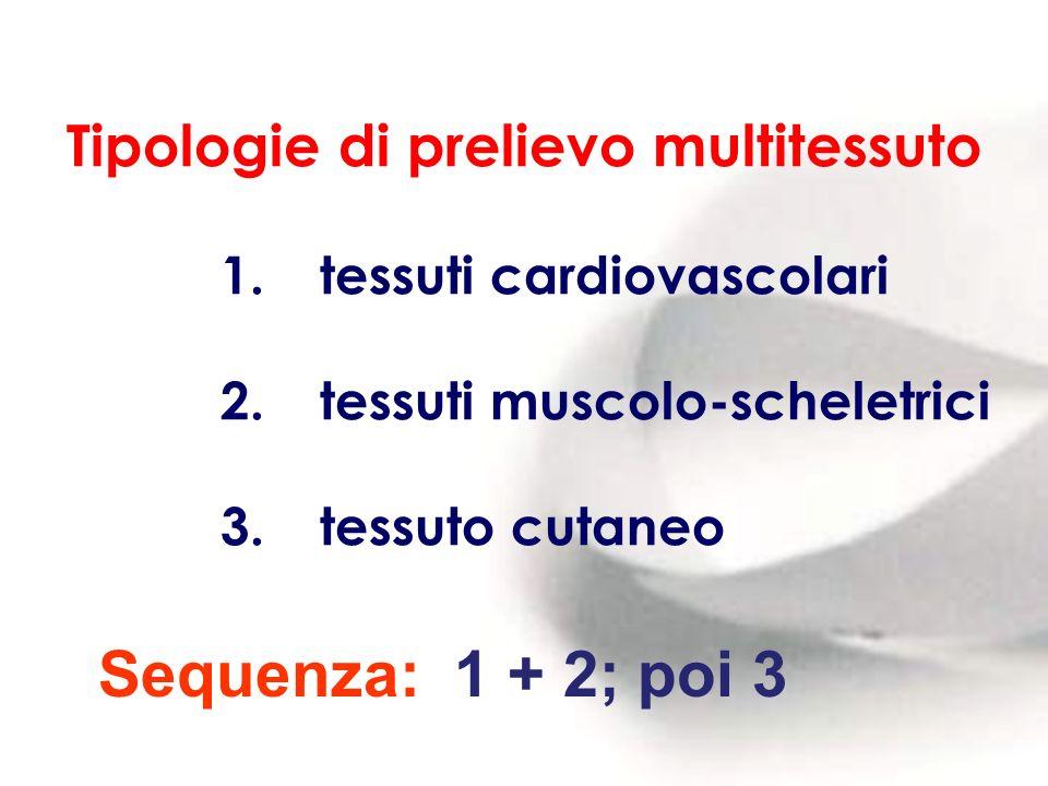 Tipologie di prelievo multitessuto 1. tessuti cardiovascolari 2. tessuti muscolo-scheletrici 3. tessuto cutaneo Sequenza: 1 + 2; poi 3