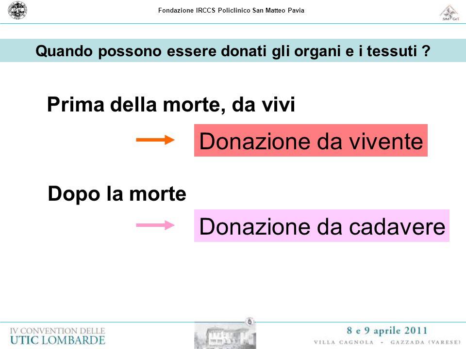 Fondazione IRCCS Policlinico San Matteo Pavia Valutazione di idoneità del donatore di tessuti
