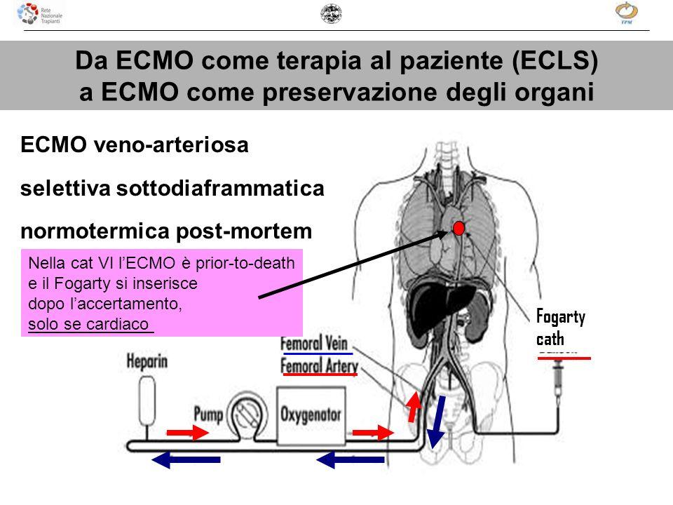 Da ECMO come terapia al paziente (ECLS) a ECMO come preservazione degli organi ECMO veno-arteriosa selettiva sottodiaframmatica normotermica post-mort
