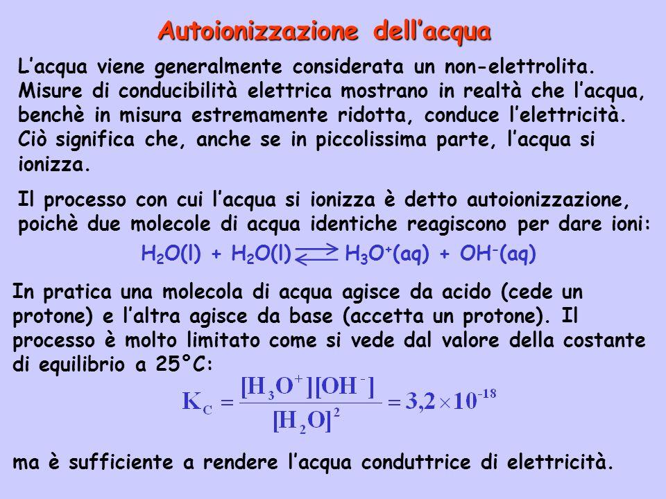 H 2 O(l) + H 2 O(l) H 3 O + (aq) + OH - (aq) In pratica una molecola di acqua agisce da acido (cede un protone) e laltra agisce da base (accetta un pr
