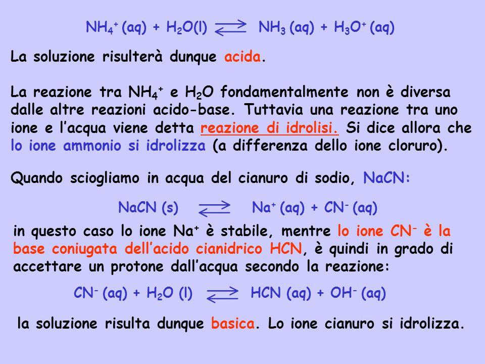La soluzione risulterà dunque acida. La reazione tra NH 4 + e H 2 O fondamentalmente non è diversa dalle altre reazioni acido-base. Tuttavia una reazi