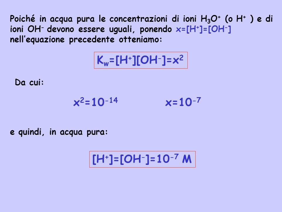Acidi e basi forti Abbiamo visto che un acido forte è caratterizzato dal fatto che in soluzione acquosa esso cede completamente il protone allacqua, cioè: HCl(aq) +H 2 O(l) H 3 O + (aq) + Cl - (aq) Tale reazione è spesso scritta più semplicemente HCl(aq) H + (aq) + Cl - (aq) che illustra come la reazione di ionizzazione dellacido cloridrico sia completa.