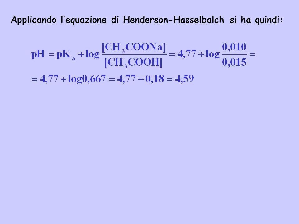 Applicando lequazione di Henderson-Hasselbalch si ha quindi: