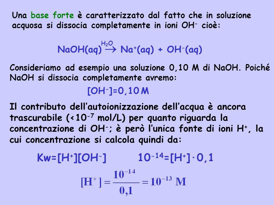 Tipiche basi forti sono gli idrossidi del gruppo IA e IIA: LiOH idrossido di litio Ca(OH) 2 idrossido di calcio NaOH idrossido di sodio Sr(OH) 2 idrossido di stronzio KOH idrossido di potassio Ba(OH) 2 idrossido di bario Una soluzione si definisce acida, basica o neutra a seconda che: [H + ]>1,0 10 -7 M soluzione acida [H + ]=1,0 10 -7 M soluzione neutra [H + ]<1,0 10 -7 M soluzione basica