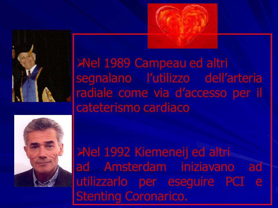 Nel 1989 Campeau ed altri segnalano lutilizzo dellarteria radiale come via daccesso per il cateterismo cardiaco Nel 1992 Kiemeneij ed altri ad Amsterd
