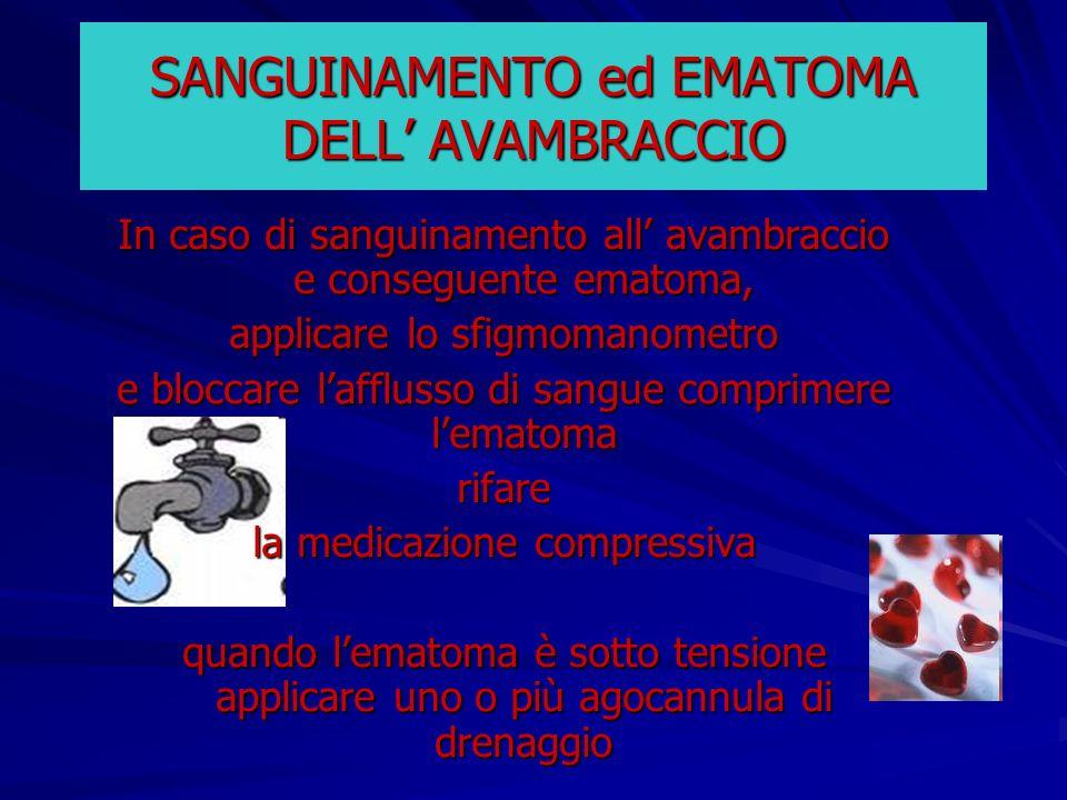 SANGUINAMENTO ed EMATOMA DELL AVAMBRACCIO In caso di sanguinamento all avambraccio e conseguente ematoma, applicare lo sfigmomanometro e bloccare laff