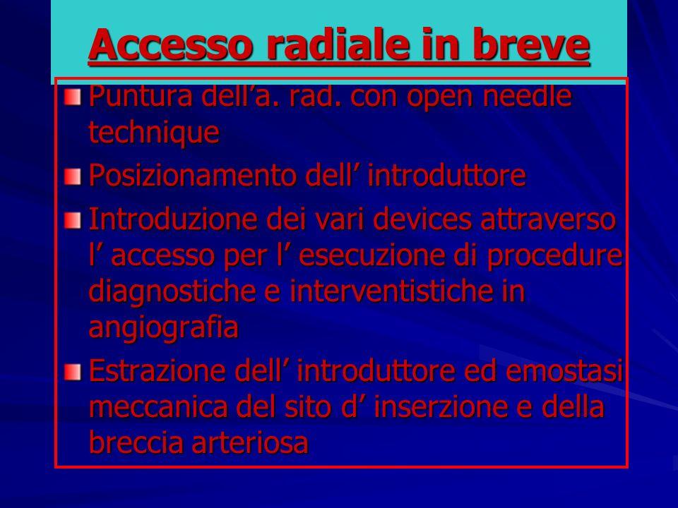 Puntura della. rad. con open needle technique Posizionamento dell introduttore Introduzione dei vari devices attraverso l accesso per l esecuzione di