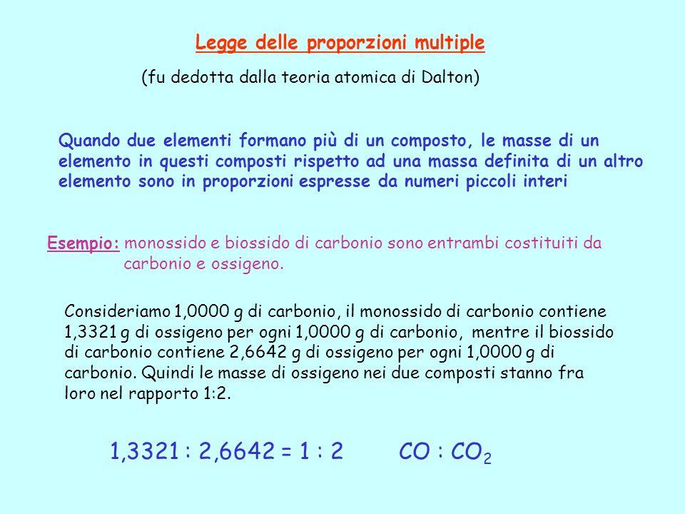 Legge delle proporzioni multiple (fu dedotta dalla teoria atomica di Dalton) Quando due elementi formano più di un composto, le masse di un elemento i