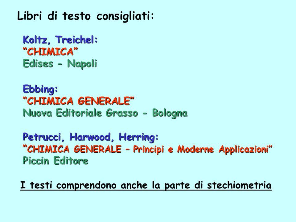 Libri di testo consigliati: Ebbing: CHIMICA GENERALE Nuova Editoriale Grasso - Bologna I testi comprendono anche la parte di stechiometria Petrucci, H