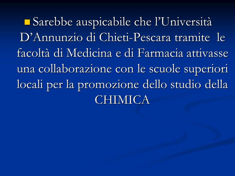 Sarebbe auspicabile che lUniversità DAnnunzio di Chieti-Pescara tramite le facoltà di Medicina e di Farmacia attivasse una collaborazione con le scuol