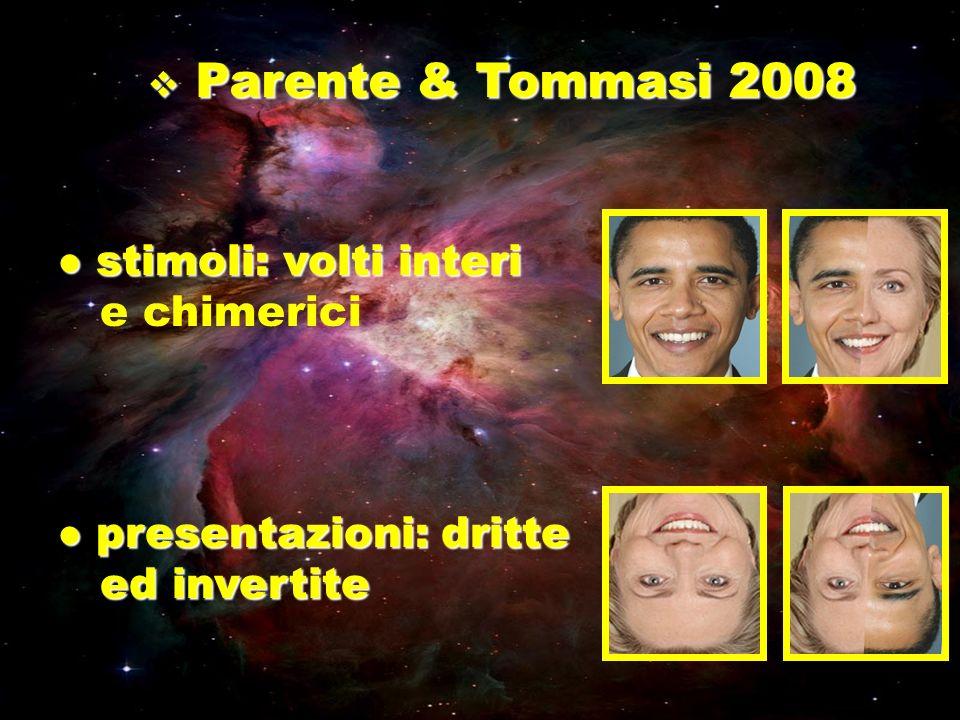 Parente & Tommasi 2008 Parente & Tommasi 2008 stimoli: volti interi stimoli: volti interi e chimerici presentazioni: dritte presentazioni: dritte ed i