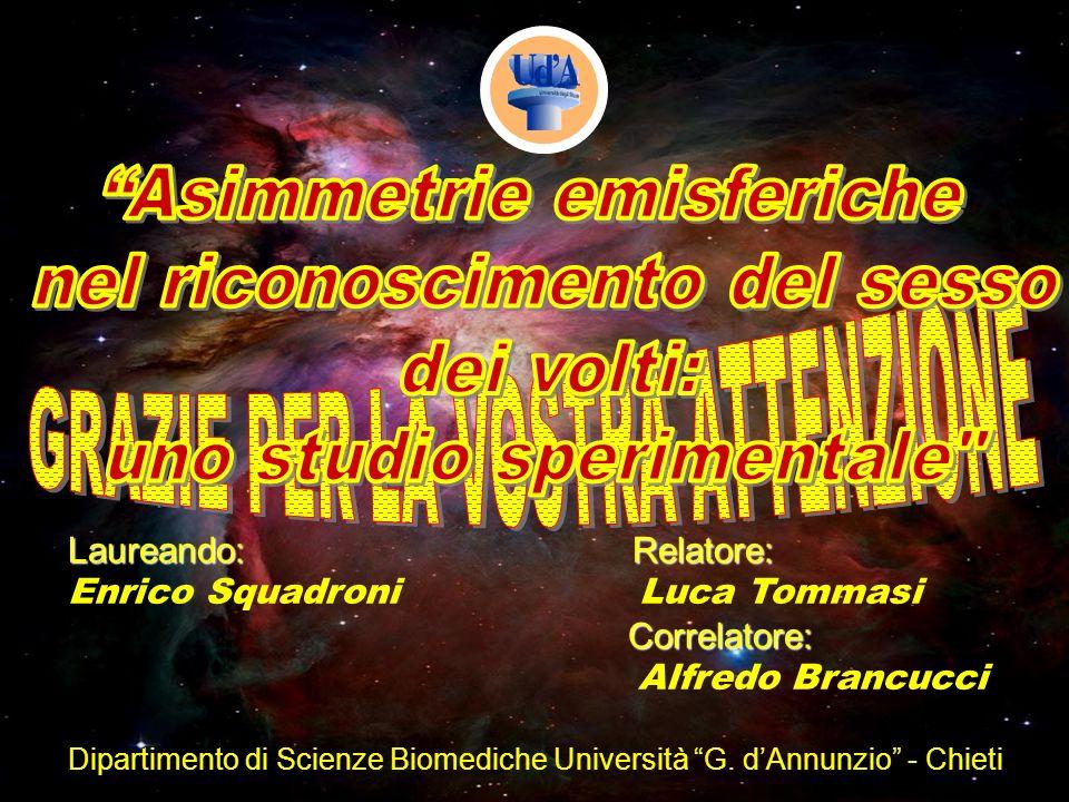 Laureando: Relatore: Correlatore: Enrico Squadroni Luca Tommasi Correlatore: Alfredo Brancucci Dipartimento di Scienze Biomediche Università G. dAnnun
