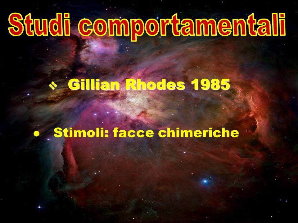 Gillian Rhodes 1985 Gillian Rhodes 1985 Stimoli: facce chimeriche