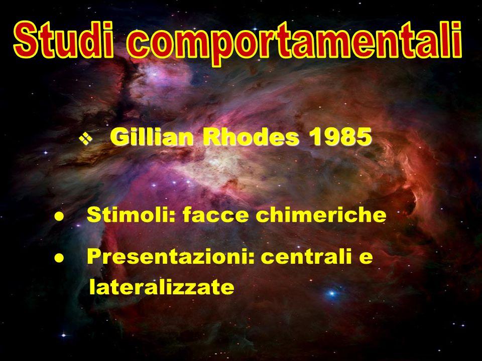 Gillian Rhodes 1985 Gillian Rhodes 1985 Stimoli: facce chimeriche Presentazioni: centrali e lateralizzate