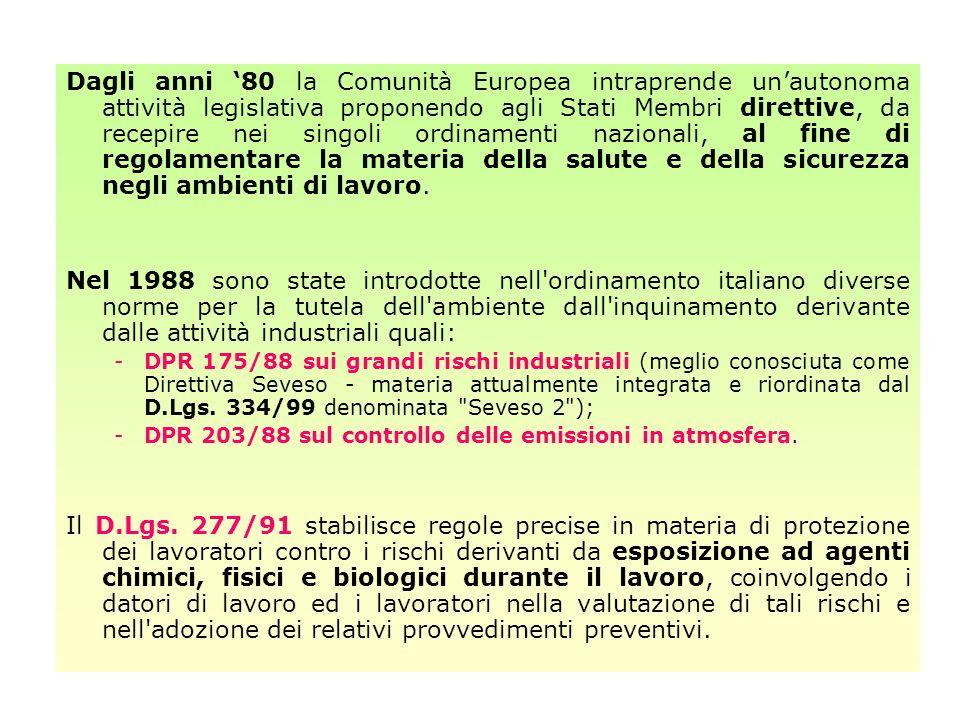 Innovazioni sostanziali nel quadro giuridico della materia sono state apportate con il recepimento della Direttiva CEE n.