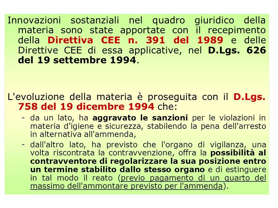 IL DECRETO LEGISLATIVO 626/94 TESTO BASE SULLA SICUREZZA HA INTRODOTTO UN NUOVO MODELLO GLOBALE DI GESTIONE DEL SISTEMA DELLA PREVENZIONE E TUTELA DELLA SICUREZZA E SALUTE DEI LAVORATORI PREVEDENDO: SOGGETTI ED ISTITUTI NUOVI: il servizio di prevenzione e protezione, interno o esterno, ed il suo responsabile il medico competente il rappresentante dei lavoratori per la sicurezza UN INTERVENTO ATTIVO, RESPONSABILE ED INTEGRATO DI TUTTI I SOGGETTI COINVOLTI NEL PROCESSO DI PREVENZIONE, PARTENDO DALLINDIVIDUAZIONE DELLE SITUAZIONI DI RISCHIO, FINO ALLA SCELTA DELLE SOLUZIONI OTTIMALI PER PREVENIRLE O RIDURLE LOBBLIGO PER IL DATORE DI LAVORO DI: elaborare un DOCUMENTO DI VALUTAZIONE DEI RISCHI potenzialmente derivanti dai processi lavorativi e dallambiente di lavoro individuare le MISURE DI PREVENZIONE NECESSARIE, sulla base delle norme di legge e di buona tecnica predisporre il PROGRAMMA DI ATTUAZIONE DELLE MISURE STESSE UN ORGANICO PROGRAMMA DI INFORMAZIONE E FORMAZIONE DEI LAVORATORI, IN GRADO DI OFFRIRE UNA MAGGIORE CONSAPEVOLEZZA DELLA TEMATICA DELLA PREVENZIONE IN AZIENDA