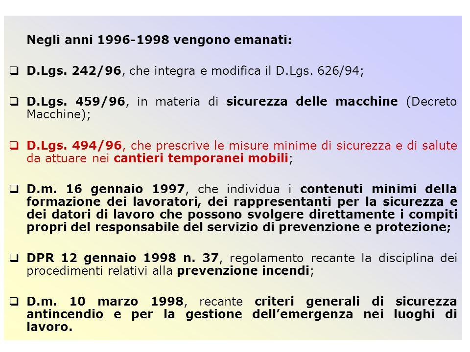 IL CAMPO DI APPLICAZIONE DEL D.LGS.494/96 IL D.LGS.