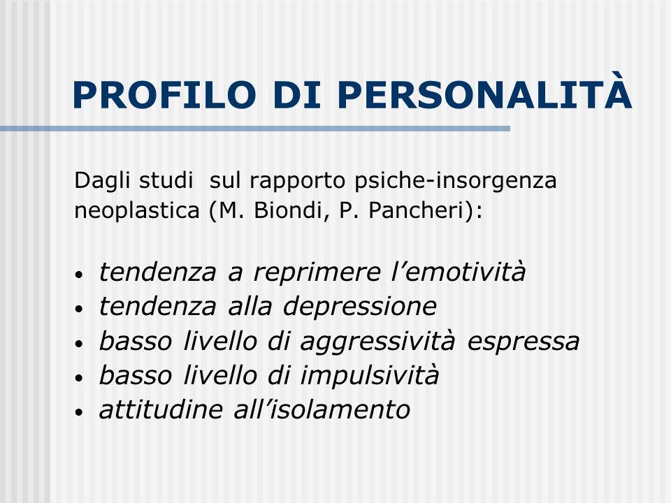 PROFILO DI PERSONALITÀ Dagli studi sul rapporto psiche-insorgenza neoplastica (M. Biondi, P. Pancheri): tendenza a reprimere lemotività tendenza alla