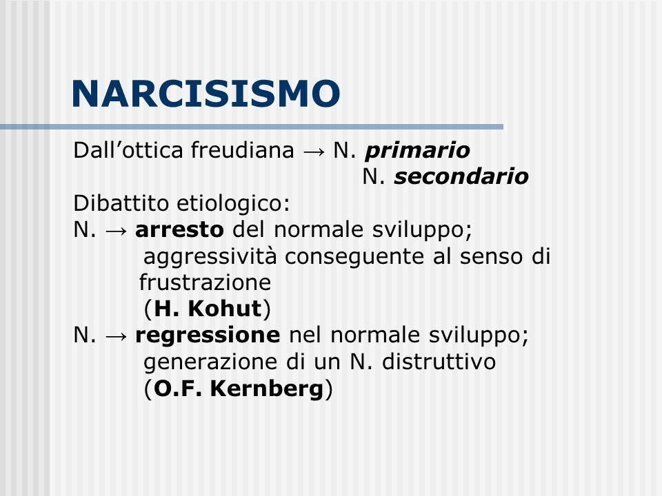 NARCISISMO Dallottica freudiana N. primario N. secondario Dibattito etiologico: N. arresto del normale sviluppo; aggressività conseguente al senso di