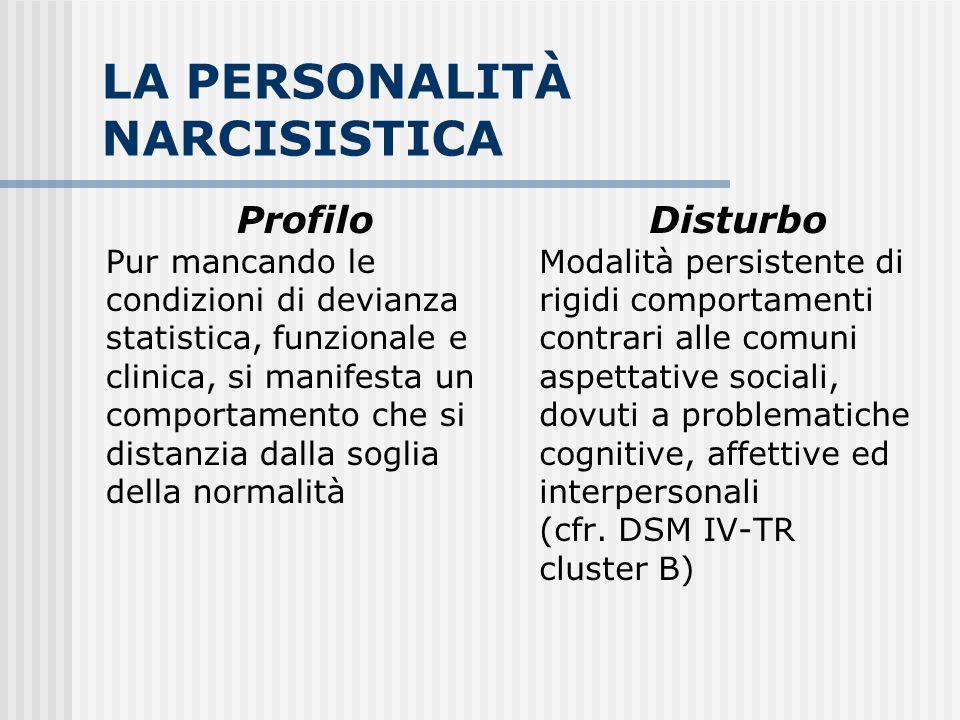 LA PERSONALITÀ NARCISISTICA Profilo Pur mancando le condizioni di devianza statistica, funzionale e clinica, si manifesta un comportamento che si dist