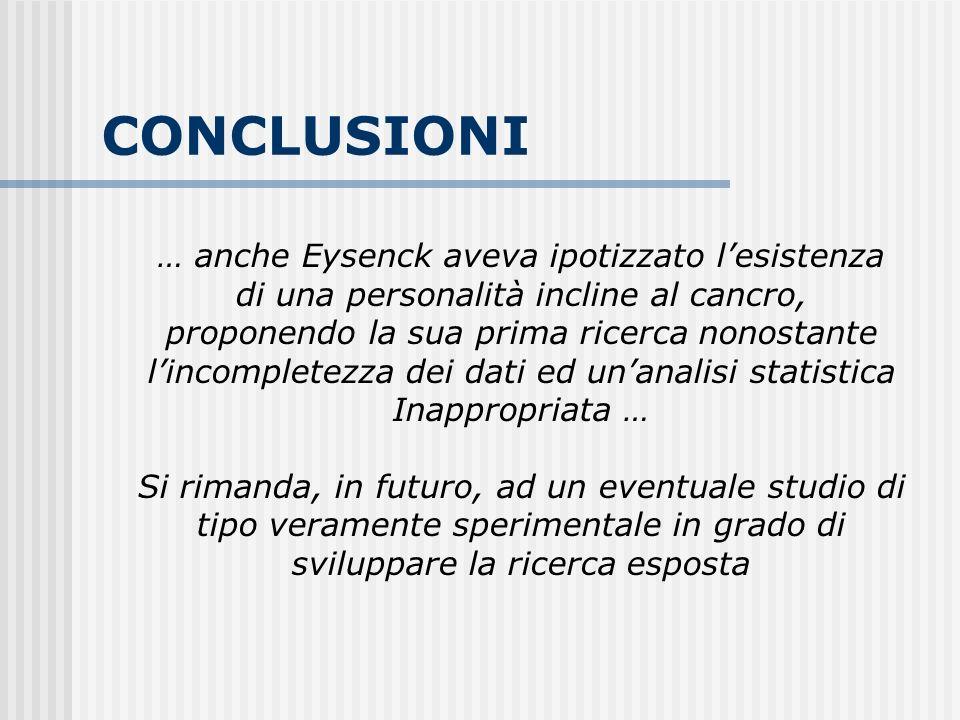 CONCLUSIONI … anche Eysenck aveva ipotizzato lesistenza di una personalità incline al cancro, proponendo la sua prima ricerca nonostante lincompletezz