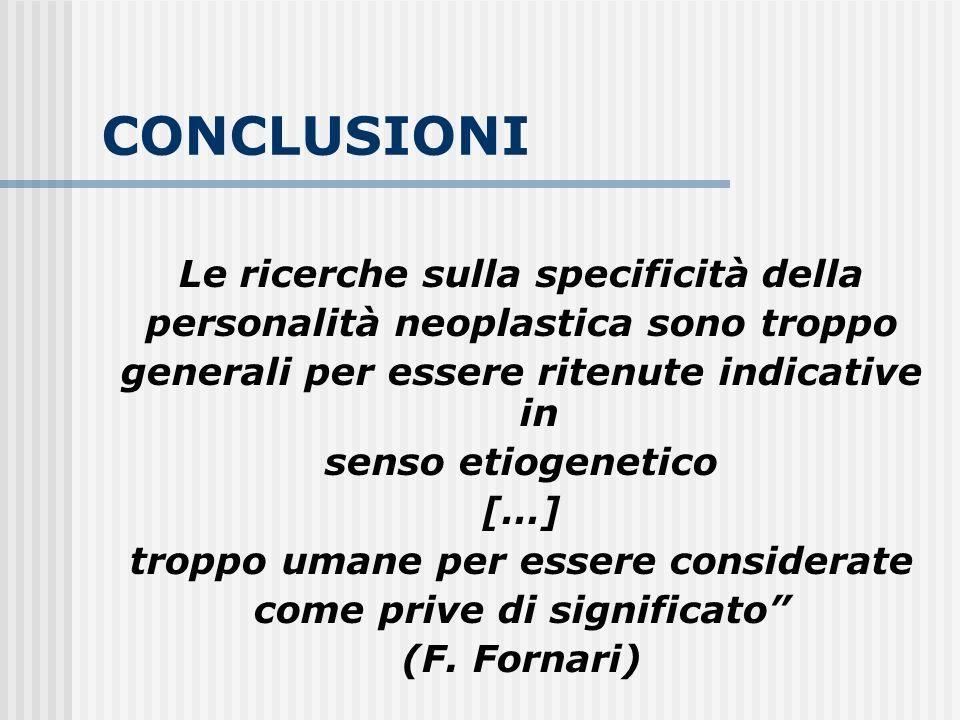 CONCLUSIONI Le ricerche sulla specificità della personalità neoplastica sono troppo generali per essere ritenute indicative in senso etiogenetico […]
