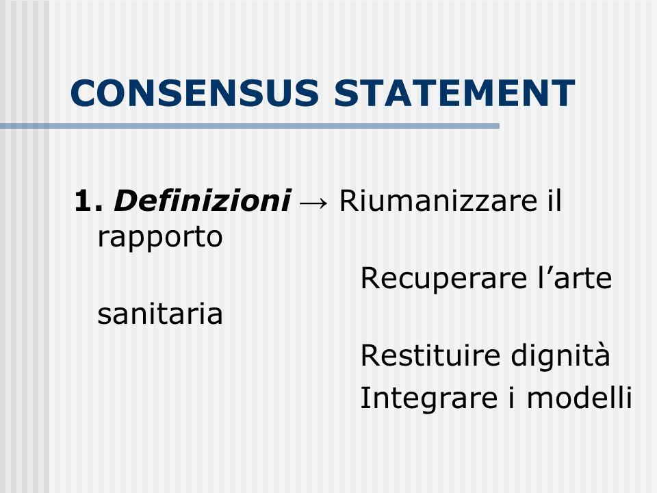 CONSENSUS STATEMENT 1. Definizioni Riumanizzare il rapporto Recuperare larte sanitaria Restituire dignità Integrare i modelli