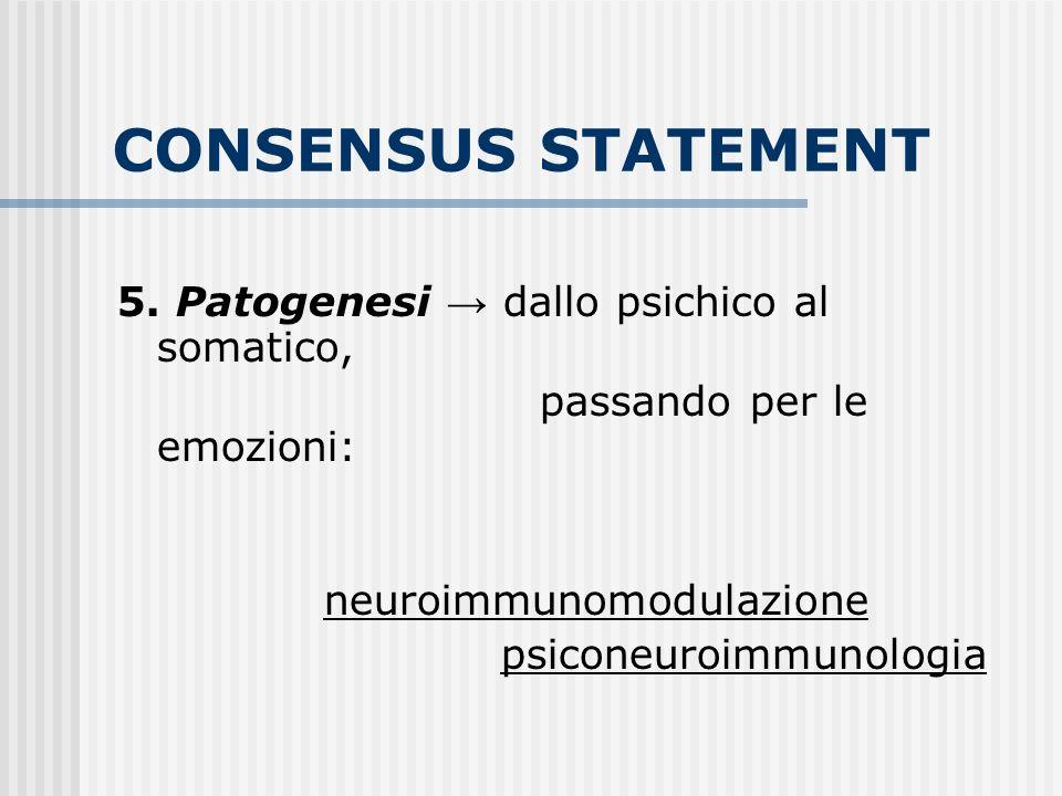 CONSENSUS STATEMENT 5. Patogenesi dallo psichico al somatico, passando per le emozioni: neuroimmunomodulazione psiconeuroimmunologia