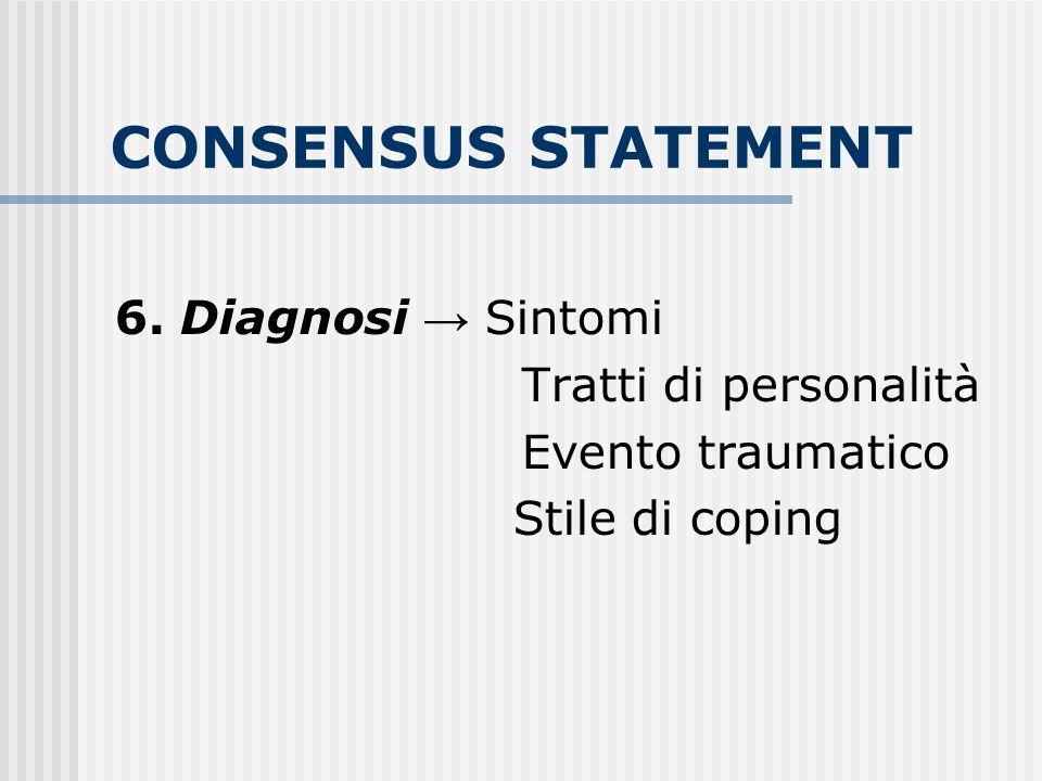 CONSENSUS STATEMENT 6. Diagnosi Sintomi Tratti di personalità Evento traumatico Stile di coping