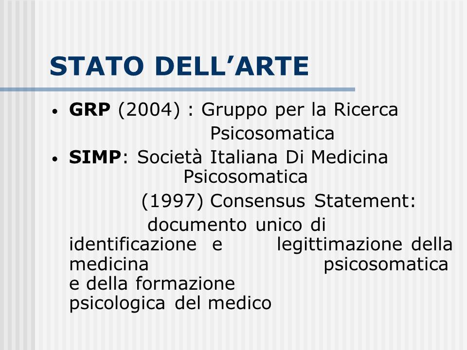 STATO DELLARTE GRP (2004) : Gruppo per la Ricerca Psicosomatica SIMP: Società Italiana Di Medicina Psicosomatica (1997) Consensus Statement: documento