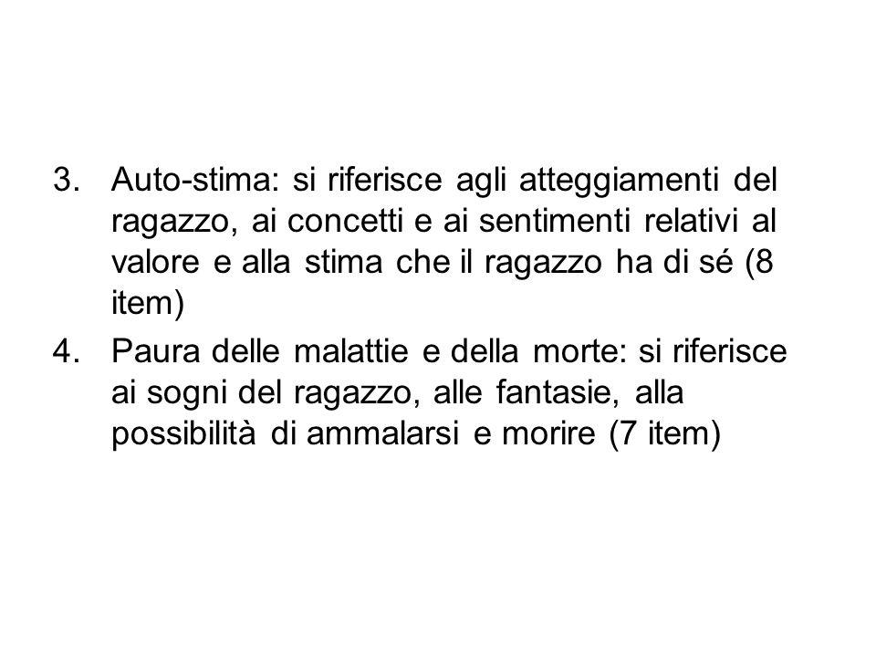 3.Auto-stima: si riferisce agli atteggiamenti del ragazzo, ai concetti e ai sentimenti relativi al valore e alla stima che il ragazzo ha di sé (8 item