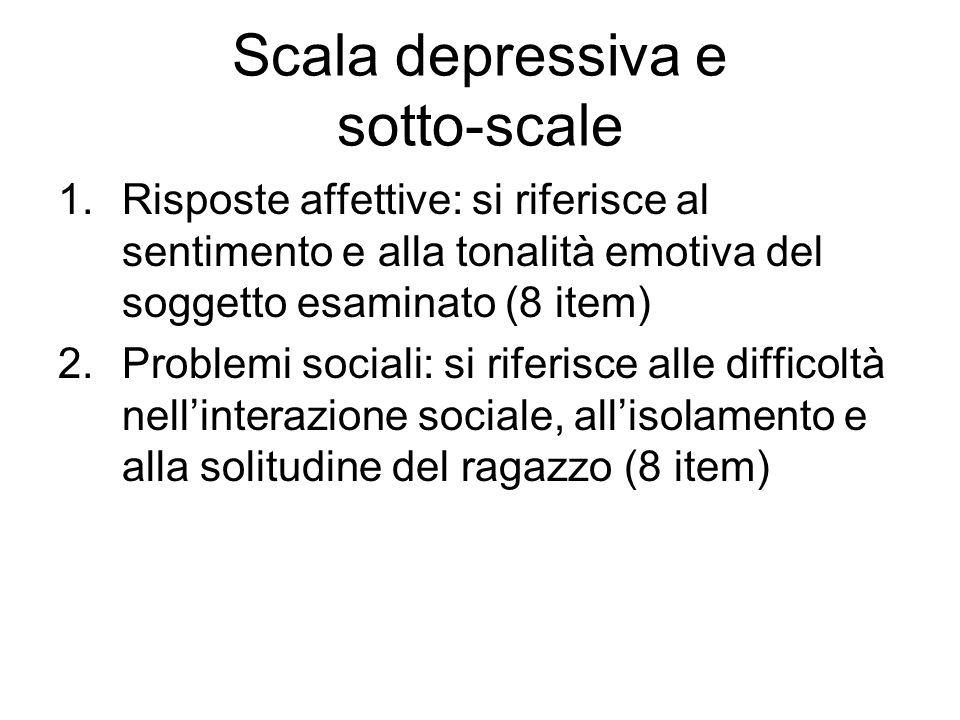 Scala depressiva e sotto-scale 1.Risposte affettive: si riferisce al sentimento e alla tonalità emotiva del soggetto esaminato (8 item) 2.Problemi soc