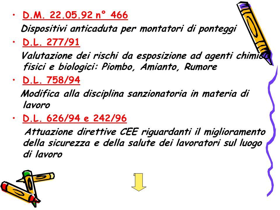 D.M.22.05.92 n° 466 Dispositivi anticaduta per montatori di ponteggi D.L.