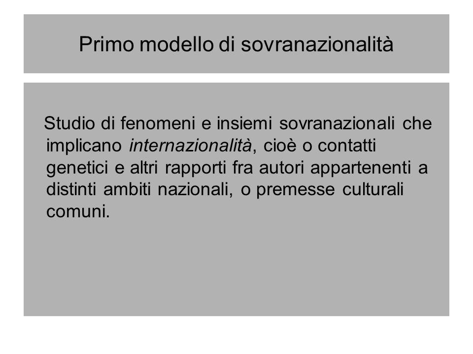 Primo modello di sovranazionalità Studio di fenomeni e insiemi sovranazionali che implicano internazionalità, cioè o contatti genetici e altri rapport