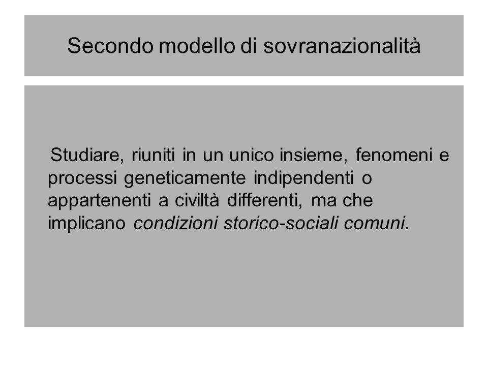 Secondo modello di sovranazionalità Studiare, riuniti in un unico insieme, fenomeni e processi geneticamente indipendenti o appartenenti a civiltà dif