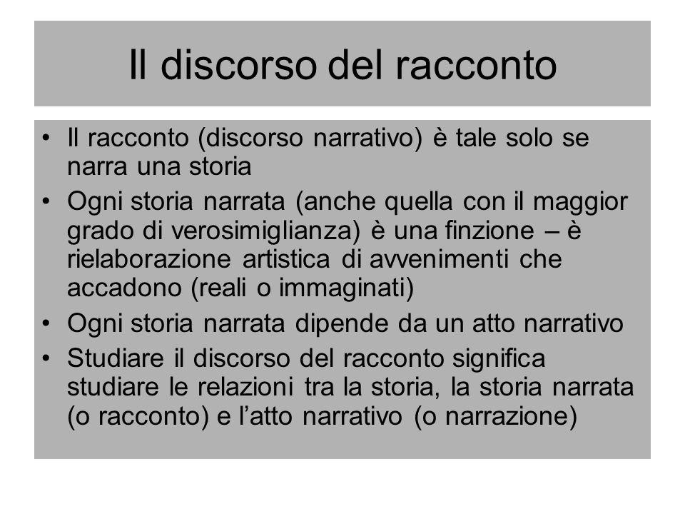 Il discorso del racconto Il racconto (discorso narrativo) è tale solo se narra una storia Ogni storia narrata (anche quella con il maggior grado di ve
