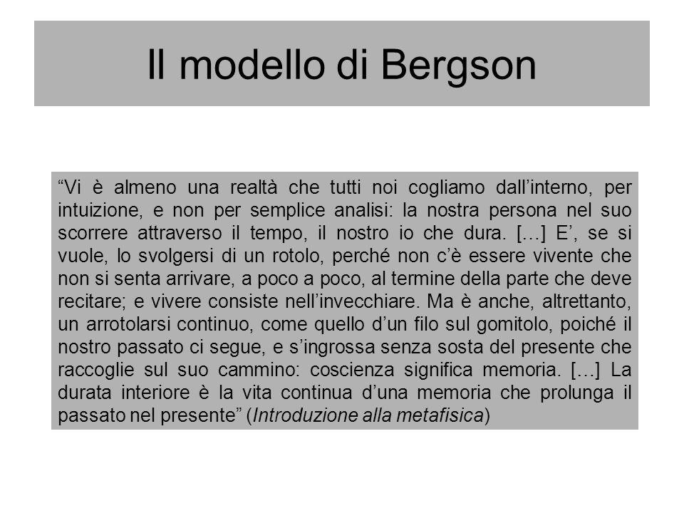 Il modello di Bergson Vi è almeno una realtà che tutti noi cogliamo dallinterno, per intuizione, e non per semplice analisi: la nostra persona nel suo