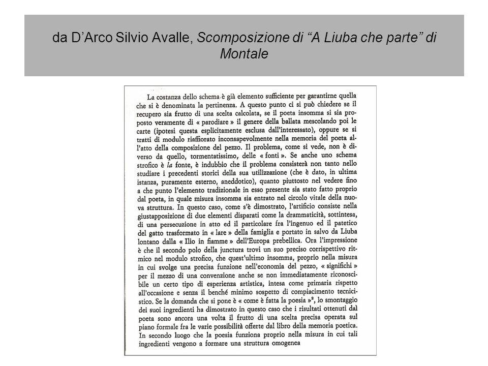 da DArco Silvio Avalle, Scomposizione di A Liuba che parte di Montale