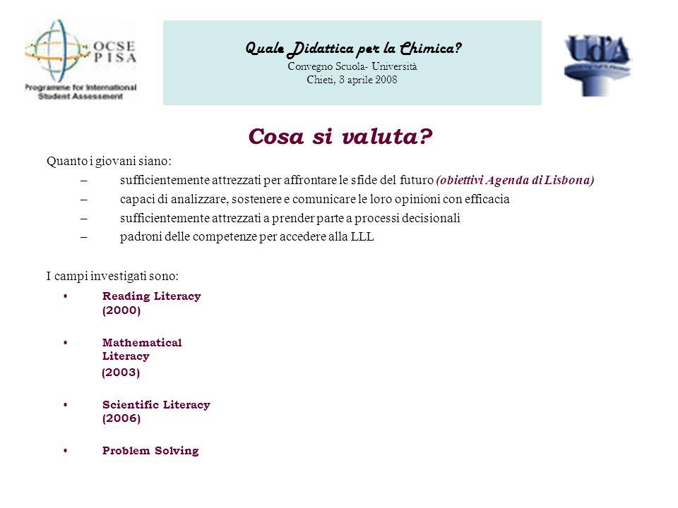 Quale Didattica per la Chimica. Convegno Scuola- Università Chieti, 3 aprile 2008 Cosa si valuta.