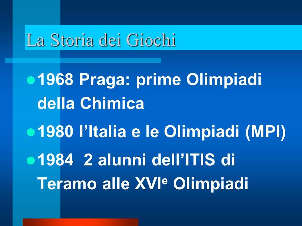 La Storia dei Giochi 1987 i Giochi della Chimica come competizione nazionale 1988 il Prof.