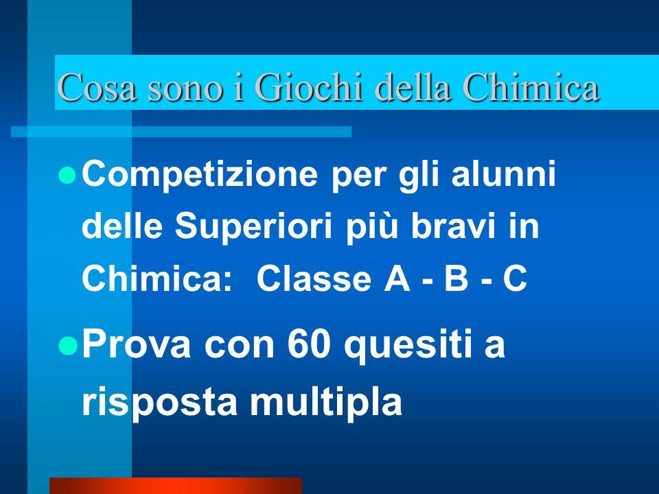 Cosa sono i Giochi della Chimica I vincitori regionali, vanno alla finale nazionale di Frascati Frascati: selezione con la scelta degli 8 superfinalisti