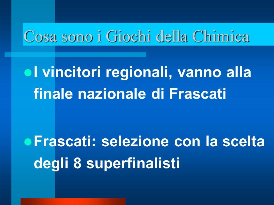 Cosa sono i Giochi della Chimica I superfinalisti vanno a Pavia ai corsi di allenamento intensivo Vengono selezionati 4 alunni che rappresentano lItalia alle Olimpiadi